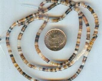 "Brown Lip Shell Heishi Beads 2-3MM 24"" Strand AA Quality"