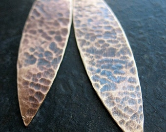 Hammered Antiqued Brass Spear Leaves - 1 pair