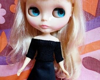 Blythe Simple Black Off Shoulder Beatnik Sweater and Skirt Set