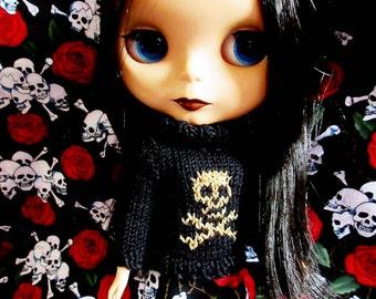 Handmade Blythe Black sweater with Gold Glittery Skull