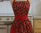 Retro Apron Strawberries on Black CHLOE