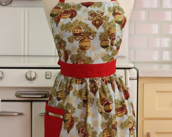 Retro Apron Christmas Ornaments on Light Blue - CHLOE