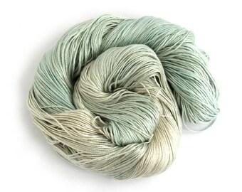 Handdyed pale blue silk seacell yarn, 4ply variegated skein, luxury fingering knitting crochet yarn, Perran Yarns waterworld, uk seller