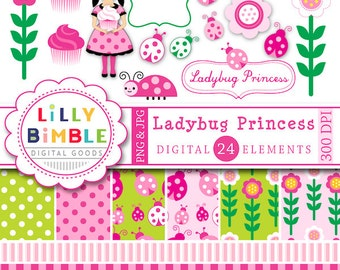 40% off Ladybug Clipart and Digital Papers in pink and green with ladybugs, cupcakes,