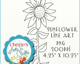 Sunflower Line Art, Clip Art, Digital Download PNG File, Transparent Background, Digital Scrapbooking Elements, Digital Download, Cliparts