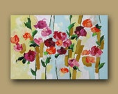 Floral Painting Landscape Original Wall Decor Abstract Art Impressionist Canvas Art Red Roses Acrylic Painting on Canvas by L Monfort