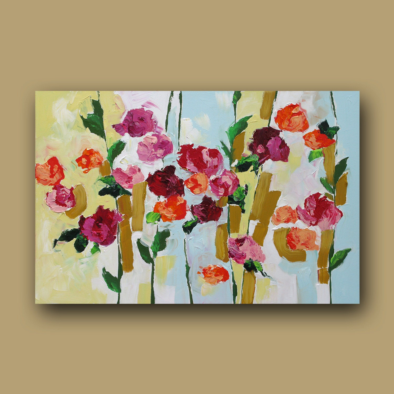 The gallery for Acrylic Painting Flowers Canvas