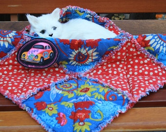 Cat Bed, Cat Blanket, Cat Quilt, Red Cat Bed. Handmade Cat Bed, Cat Accessories, Luxury Cat Bed, Travel Cat Bed, Crate Mat, Small Dog Quilt
