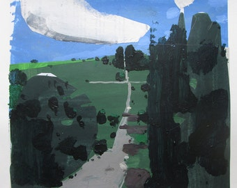 Descent, Original Summer Landscape Collage Painting on Paper, Stooshinoff
