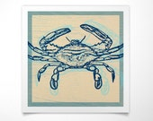 Blue Crab Print- Wall Art Prints- Ocean Decor- Ocean Wall Art- Ocean Print- Ocean Bathroom Decor- Coastal Beach Decor- Beach House Decor