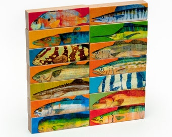 Gifts For Dad- Husband Gifts for Him- Saltwater Fish Art- Whole Mess of Fish Sticks- Set of 14- Fish Prints Sea Life Print- Beach House Art