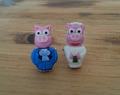 Simpsons Inspired Bride and Groom Pig Cufflinks