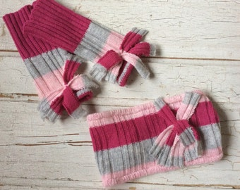 Repurposed Sweater Headband and Gloves Set/Pink Stripes/Texting Gloves/Fingerless