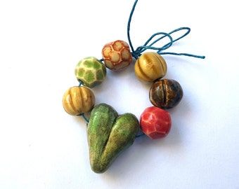 Handmade Porcelain Clay Ceramic Beads With Raku Heart Focal Bundle