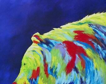 Sunlit Bear Colorful Pop Art Animal Original Oil Painting by Artist Debra Alouise