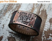 40% OFF FLASH SALE- Men's Stamped Leather Cuff-Loved Collection-Word Cuff-Personal Gift-Valentines-Engagement-Wedding