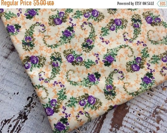 40% FLASH SALE- Floral Cotton Fabric-- Quilting Cotton Fabric-Yellow and Purple