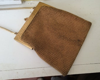 Whiting and Davis Gold Mesh Purse / Opera Bag / Evening Bag / Chainlink