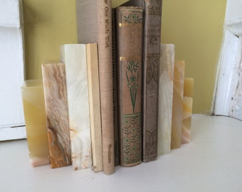 Agate Marble / Stacked Slab Book Ends / Pair