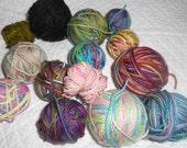 Sock yarn minis hand dyed merino or merino blend superwash multicolors 13 small skeins