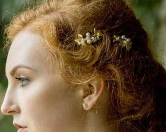 Gold Leaf and Freshwater Pearl Hair Clips, Gold Vine Mini