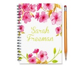 2016 Monthly Planner, Personalized 2016 Calendar Notebook, Custom Notebook, pink watercolor flowers, monthly calendar, SKU: pn watercolor