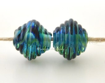 Glass Lampowrk Beads Ribbed Bicone Pair - TROPICAL STORM Handmade - TANERES blue green
