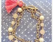Valentine Happy Double Strand Bracelet, Cotton pearl, white quartz, pink quartz, happy charm, pink tassel