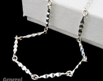 Sterling Silver 2mm Hammered Link Finished Bracelet Chain #BSN034