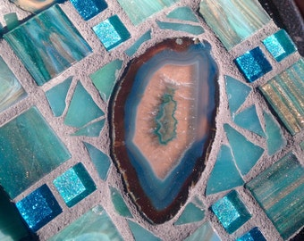 Fabulous NEW Handmade Mosaic Coasters turquoise Agate Rich Purples colors metallic italian glass tile