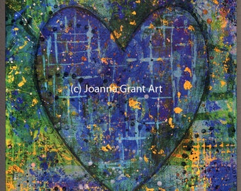 ORIGINAL Mixed Media Collage Art Block Boho Heart