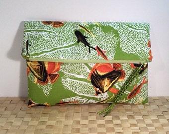 Foldover clutch, Summer purse, Alfred Shaheen fabric, envelope clutch, zipper clutch, casual clutch bag, evening bag, clutch bag