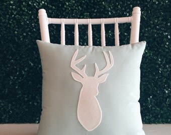 Mint Julep & Linen Decorative Deer Pillow  14 x 14 inch square