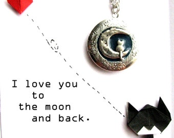 Cat Locket Necklace, Cat Lover Gift, Animal necklace, Animal lover gift, I love you to the moon and back necklace, Cat necklace