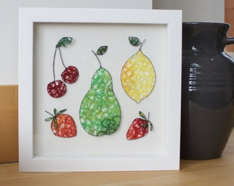 Fruit Collection Wire Freehand Embroidery Framed Picture