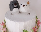 Bird wedding cake topper, bird themed wedding, cake decoration in grey, white and gold