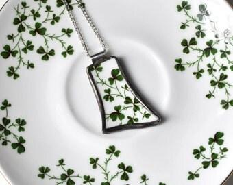 Broken China Jewelry Pendant - Green Shamrocks