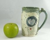 Big Ceramic Coffee Cup  / tea mug / teacup with tree owl - unique coffee mugs / holds 22 ounces beer stein tankard WM315