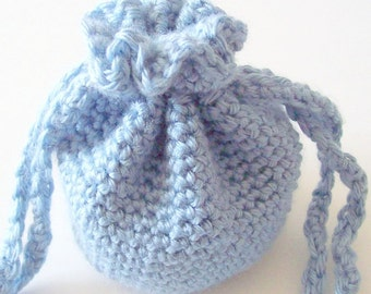 Crochet Drawstring Bag, Blue Drawstring Crochet Bag, Crochet Drawstring Pouch, Small Drawstring Bag