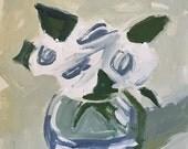 original flower sketch, green and white art flower painting, wall art, floral design, home decor spring decor spring art