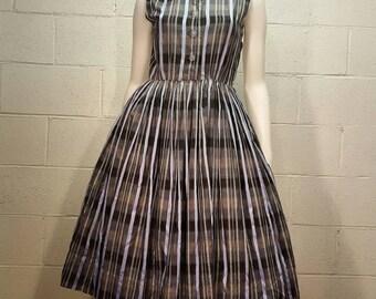 1950s Greyscale Plaid Print Day Dress Medium M