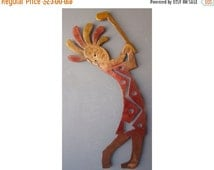 Kokopelli Golf Tee Metal Wall Art, Southwestern Decor, Rusted with Accents, 23 inch