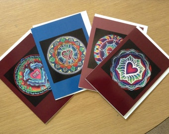 Four Heart Energy love  Mandala Greeting Cards- blank Series of Four