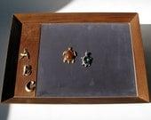 Vintage - Padded Jewelry Display Tray - Gray Velvet - Fuller Box Company - Jewelry Trifari - Jewelry Store Display - Salesman Sample