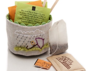 Small Linen Basket, Trinket Basket, Handmade Fabric Basket, Tea Lover Gift, Coffee Watcher Gift, Bird Lover Gift, Tea Bag Storage