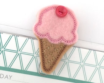 Ice cream cone planner clip ~ ice cream bookmark ~ planner accessories ~ ice cream feltie ~ ice cream felt paperclip