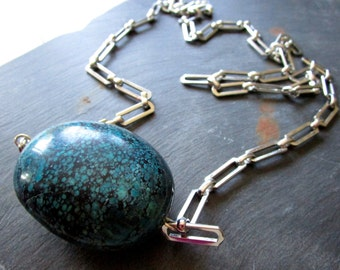 Dragonskin Turquoise Egg Necklace - Wilma Flintstone ABACUS - Ladder - Statement - Vintage Chain - Etsy Jewelry - catROCKS - Nugget Silver