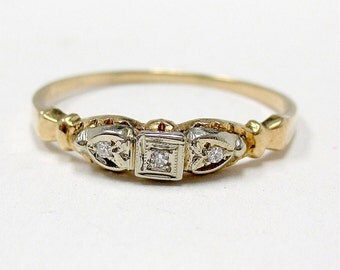 1930s Diamond Engagement Ring 14K Gold Heart Wedding Ring