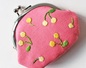 Kiss lock coin purse cherries on pink hand-embroidery yellow cherry green leaf yellow linen fruit cute embroidered spring change purse