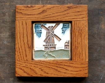 Oak Framed Mission Bungalow Style Wall Decor - Dutch Windmill - Handmade Tile with Oak Frame - home decor